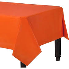 12 pack premium disposable plastic tablecloth 54 inch x 108 inch rectangle table cover 84 inch round table cover rectangle orange