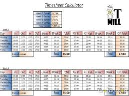 Calculator For Timesheet Free Timesheet Calculator With Lunch Excel Platte Sunga Zette