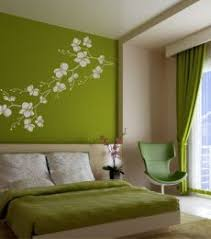 bedroom wall design ideas. Green Bedroom - Wall With White Flowers/branch Stencil And Bedding. Design Ideas