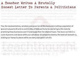 letter from teacher to parents a teacher writes a brutally honest letter to parents politicians