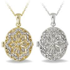 details about diamond accent oval locket necklace 2 options