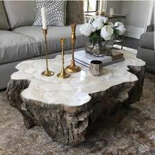 stone coffee table. Trunk Shaped Clam Shell Lava Coffee Table Stonecast Top With Inlaid Fossilized On Base Made To Resemble Tree Each Piece Varies Stone