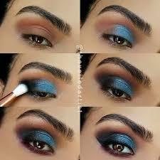 glitzy blue smokey eyes makeup tutorials