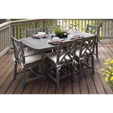gray outdoor patio set. polywood chippendale slate grey 7-piece plastic outdoor patio dining set with sunbrella bird\u0027s eye cushions-pws121-2-gy5472 - the home depot gray