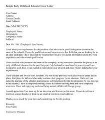 How To Write A Cover Letter For Early Childhood Education Cover Letter For Early Childhood Educator Magdalene