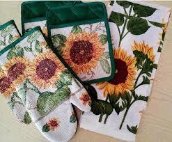 7pc sunflower green edge cotton kitchen towel mitt set