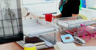 female executive office furniture. female executive using virtual reality headset in office 4k - 4k stock video clip furniture e
