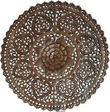 Archive for the 'bali wall decoration' category. Amazon Com Tropical Bali Wood Carved Wall Art Panels Large Round Wood Wall Decor Floral Wood Wall Hanging 48 Dark Brown Home Kitchen