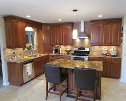 traditional l shaped kitchen with island