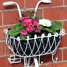 wall basket planter white metal bicycle basket wall planter wall mount planter basket