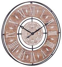 extra large wood wall clock with black
