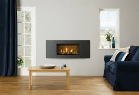 gazco studio 1 slimline verve gas fire in graphite glass fronted with log effect fuel bed and brick effect lining