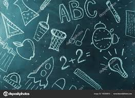 School Chalkboard Background Kids Painting On School Chalkboard Background Stock Photo