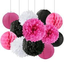 Paper Flower Balls To Hang From Ceiling Buy Black Tissue Paper Flower Pom Poms 10 3 Pack