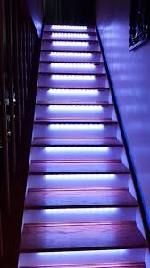 automatic led stair lighting. once i mounted all the strips tested lights to make sure they work will attach molding in front of led completely hide them automatic led stair lighting