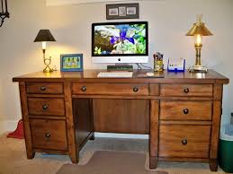 two yellow shade table lamps on simple wooden computer desk designs for home with drawers in
