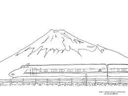 富士山と新幹線の下絵富士山のぬりえ