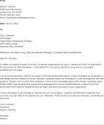 Job Cover Letter Gorgeous Sample Cover Letter For Web Developer Job Resume Examples Templates