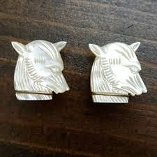 Accessories | Vintage Mother Of Pearl Wolf Carved Cuff Links | Poshmark