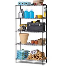 Adjustable Width Shelving Work Choice 5 Tier Commercial Wire Shelving Rack Black Walmartcom