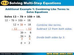 11 2 solving multi step equations solve 12 7b 10b 18