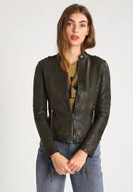 tigha dakota leather jacket army green women clothing jackets