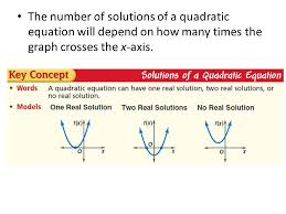4 the number of solutions of a quadratic equation will depend on how many times the graph crosses the x axis