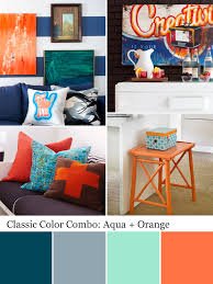 Orange And Blue Living Room Blue And Orange Mid Century Palette Paint Colors From Chip It By