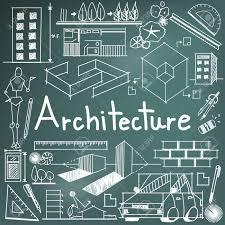 architecture design blueprint. Architecture And Architect Design Profession Building Exterior Blueprint Handwriting Doodle Tool Sign Symbol In B