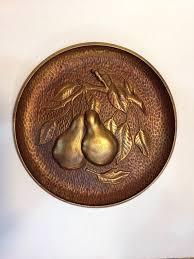 syroco wood pear wall plaque gold tone