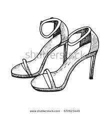 shoes heels drawing. female sandals with heels drawing. sketch vector illustration shoes drawing