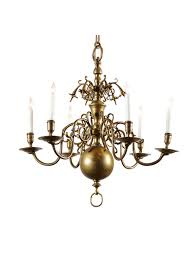 petite dutch brass chandelier with 6 lights 19th century william word fine antiques