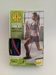 Golds Gym Long Resistance Tube 3 Level Kit Light Medium Heavy Incl Mesh Bag