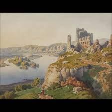 Scuola francese del XIX secolo. Rovine del castello paesi della Cornovaglia  - Expertissim