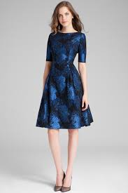 Printed Floral Jacquard Fit N Flare Dress