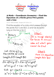 a math coordinate geometry find the equation of a circle given two points