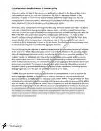 monetary policy essay year hsc economics thinkswap hsc economics monetary policy essay