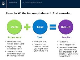 4. How to Write Accomplishment Statements Verb Task Result Action ...
