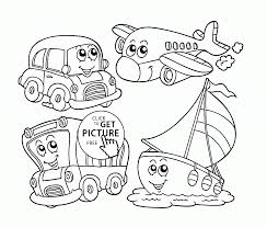 Cute Cartoon Transportation Coloring Page For