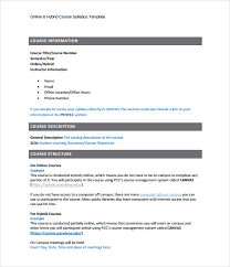 weekly syllabus template sample syllabus template 8 free documents download in pdf