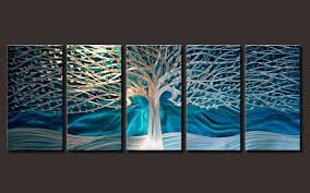 >wall art apealling wall art blue to redicorate adorned your home  electric sculptures tree mysterious pictures five panel pieces large shining appealing modern metal wall art blue
