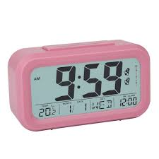 peakeep digital alarm clock with 2 alarms for weekdays manual snooze and light battery operated only pink by peakeep for homeware in