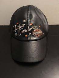 rare harley davidson hat cap small black leather motorcycle bike vintage hd 3d