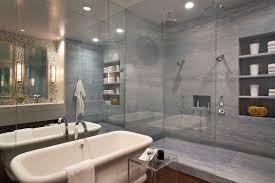 modern shower head recessed bathroom lighting. Freestanding-bathtub-in-cozy-modern-bathroom-design-with- Modern Shower Head Recessed Bathroom Lighting M