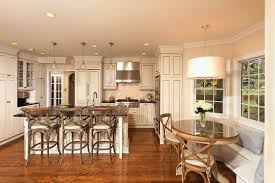kitchen banquette with round table and drum chancelier also restoration hardware bar stools with wood flooring lovely kitchen nook lighting