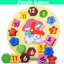 diy kids clock learning education toys fun jigsaw puzzle game for children digital cartoon toys free