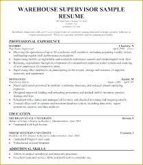 Warehouse Supervisor Resume Objective Examples Sample Manager Best Warehouse Supervisor Resume
