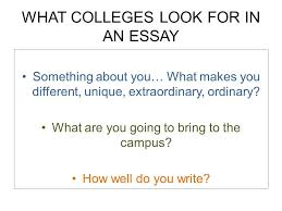 college essay workshop what colleges look for in an essay  what colleges look for in an essay something about you what makes you different