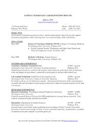 Free Downloadable Veterinary Career Resume Sample Vinodomia