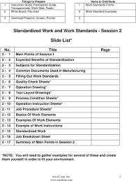 Standard Work Chart Example Standardized Work 2nd Session Art Of Lean Inc 1 Pdf